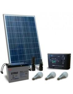 Kit Solare Illuminazione LED 100W 12V per Interni Fotovoltaico batteria 80Ah
