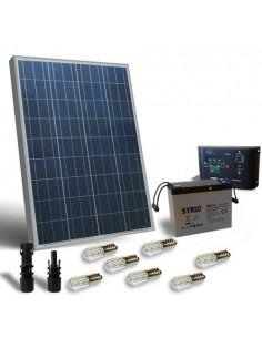 Kit Solar Votiv 100W 12V Photovoltaik-Panel Laderegler LED Batterie 80Ah