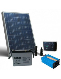 Kit solare baita 80W 12V Base pannello regolatore inverter batteria 60Ah