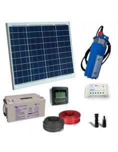Kit Solare Irrigazione 50W 12V 200L/h prevalenza 10mt Batteria AGM 22Ah