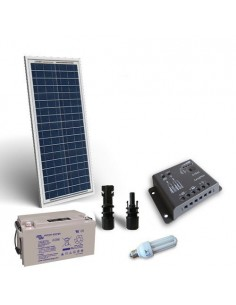Kit Solare Illuminazione fluo 30W 12V per Interni Fotovoltaico Batteria 22Ah
