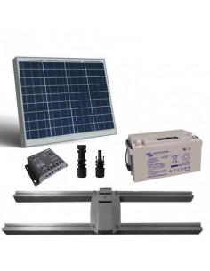Kit Solaire Lux 50W Panneau Regolateur de Charge 5A Batterie 22Ah Support Poteau
