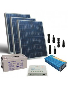 300W 12V Cabin Solar Kit Pro Battery 130Ah Panel Inverter Charger Controller MC4