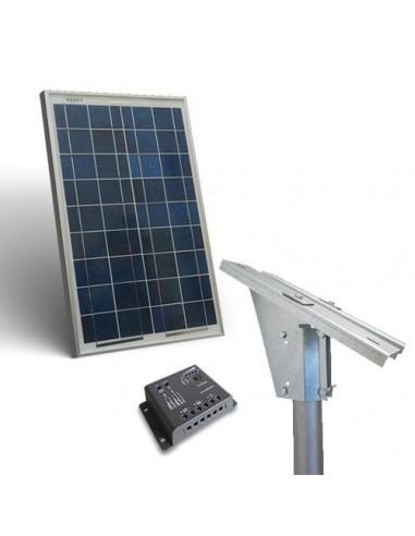Kit Solare Plus 20W Pannello Fotovoltaico Regolatore 5A supporto Testapalo