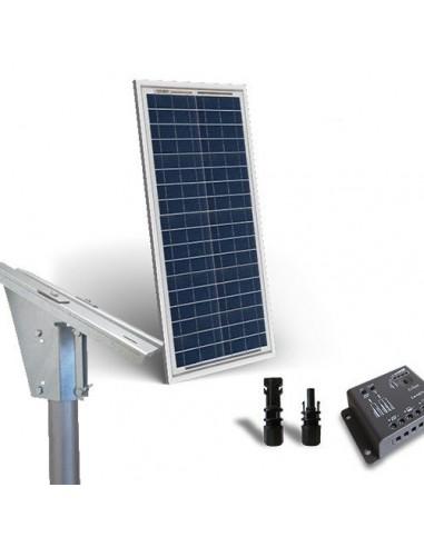 Kit Solare Plus 30W Pannello Fotovoltaico  Regolatore 5A Supporto Testapalo