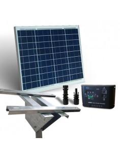 Kit Solare Plus 50W Pannello Fotovoltaico Regolatore 5A Supporto Testapalo