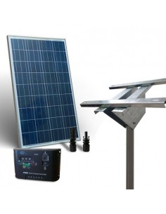 Kit Solare Plus 80W Pannello Fotovoltaico  Regolatore 10A Supporto Testapalo