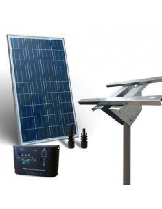 Kit Solare Plus 100W Pannello Fotovoltaico  Regolatore 10A Supporto Testapalo