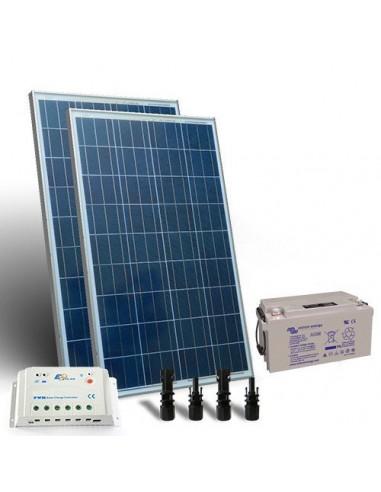 Kit solaire pro 160W Panneau Regulateur de Charge 20A-PWM 1xBatterie AGM 100Ah