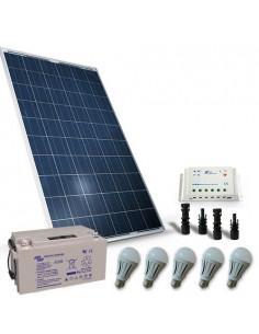 Kit Solare Illuminazione LED 200W 12V per Interni Fotovoltaico Batteria 100Ah