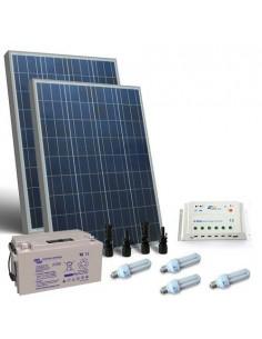 Kit Solare Illuminazione Fluo 160W 12V per Interni Fotovoltaico Batterie 90Ah