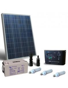 Kit Solare Illuminazione Fluo 80W 12V per Interni Fotovoltaico Batteria 38Ah