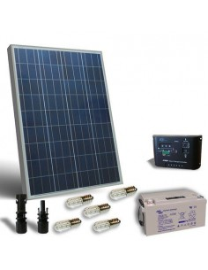 Kit Solar Votiv 80W 12V Photovoltaik-Panel Laderegler LED Batterie 38Ah