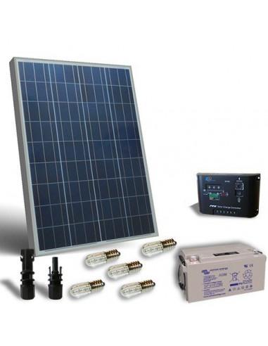 Kit Solaire Votif 80W 12V, Panneau Solaire, Batterie, Regulateur de charge, LED