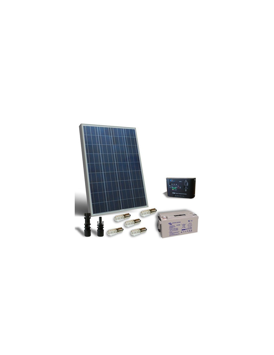 kit solaire votif 80w 12v panneau solaire regulateur de charge led batterie 38ah. Black Bedroom Furniture Sets. Home Design Ideas