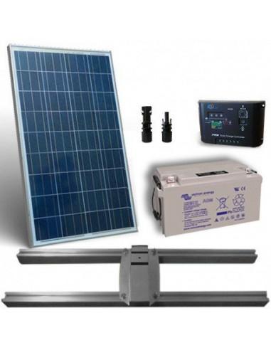 Kit Solaire Lux 10W Panneau Regolateur de Charge 5A Batterie 12Ah Support Poteau