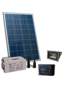 Kit Solare Illuminazione 80W 12V per Esterni 1xFaro LED 20W Batteria 38Ah