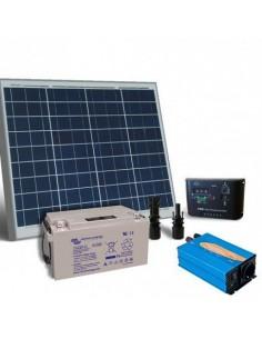 Kit Solaire Chalet 50W 12V Base Panneau Regulateur Onduleur Batterie AGM 38Ah